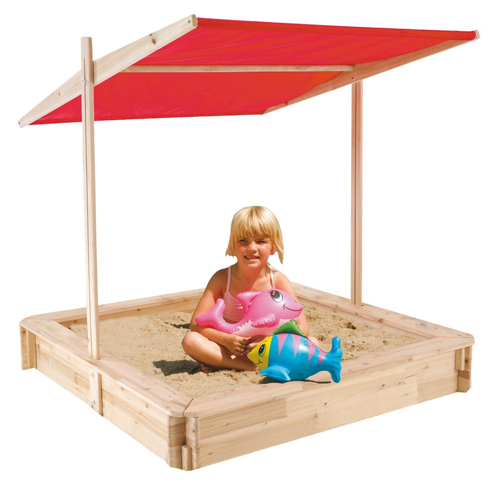 Holz-Sandkasten mit Dach 120 x 120 x 17,5 cm für 39,99 Euro [Globus SB Warenhaus]