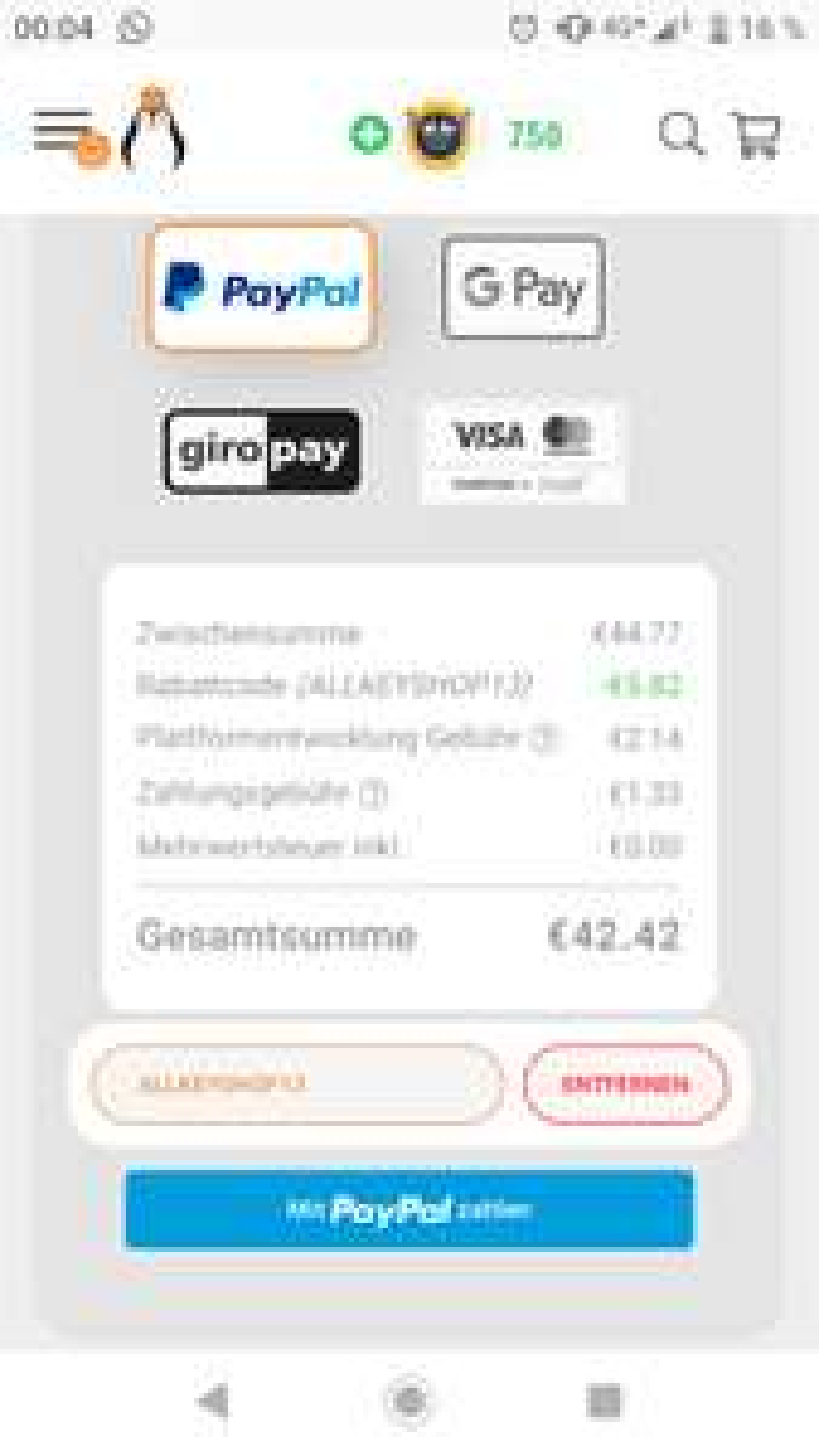 PSN GUTHABEN 50 für 42,42 EUR
