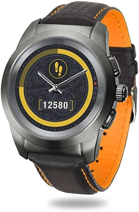 MyKronoz ZeTime Premium (44mm, Edelstahl, Leder) - hybride Smartwatch