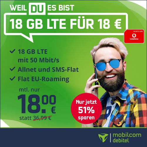 [Vodafone-Netz] mobilcom-debitel green LTE mit 18GB LTE (50 Mbit/s), Allnet- & SMS-Flat für 18€ / Monat (eSIM möglich)