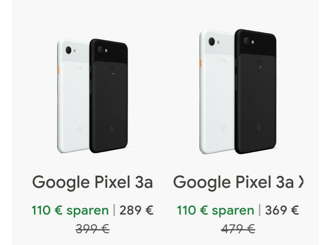[GoogleStore] Pixel 3a und 3a XL um 110 EUR reduziert (XL für 369 EUR)