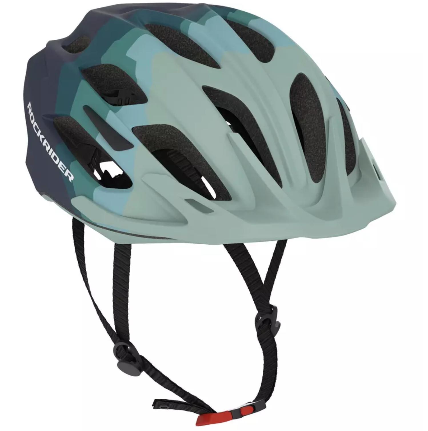 Fahrradhelm Rockrider MTB ST 500 Damen - blau/grün - Größe L (59-61 cm)
