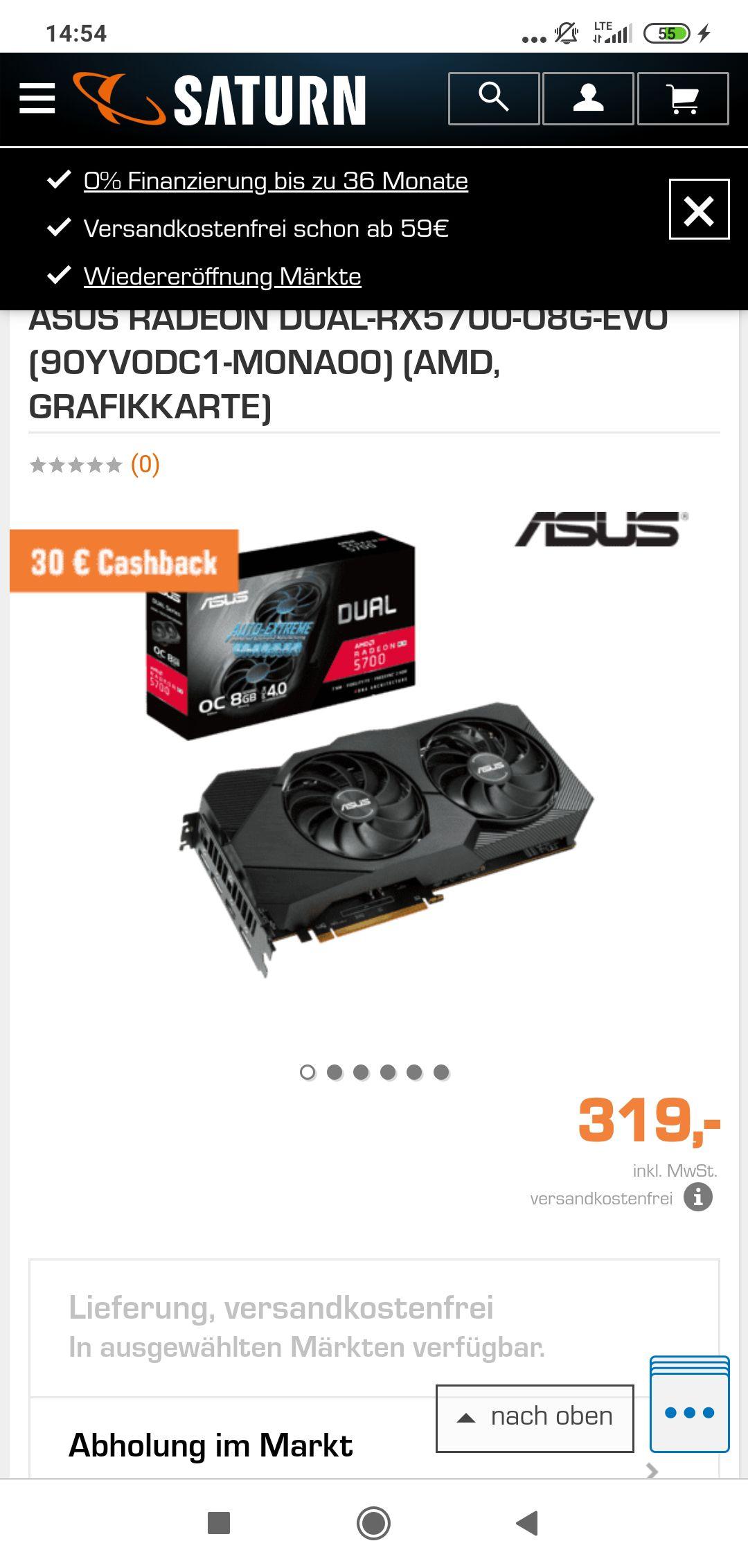 RX 5700 ASUS DUAL EVO effektiv für 289€ durch Cashback + 2 Spiele