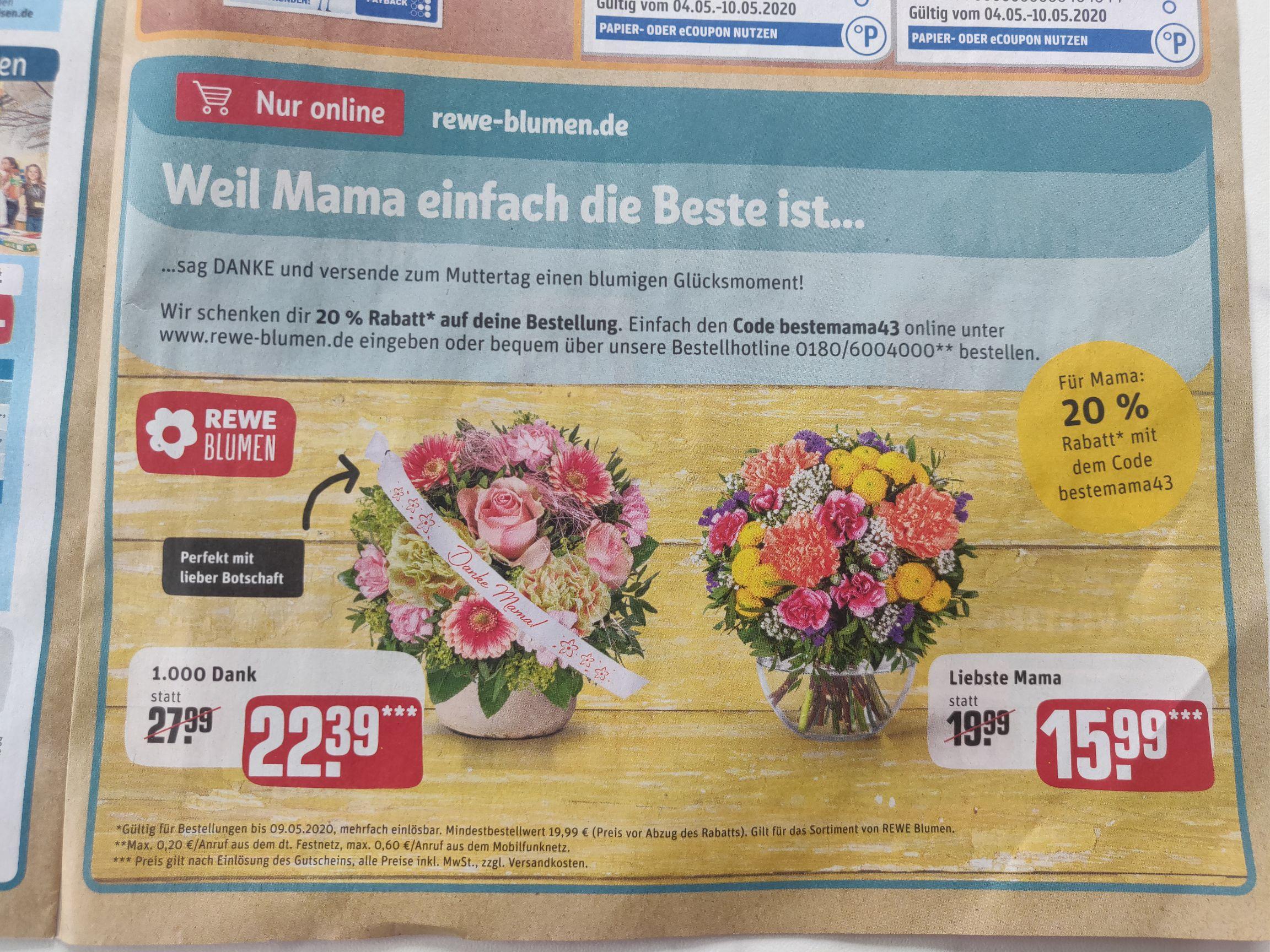 20% Gutschein bei Rewe-Blumen zum Muttertag (Online, bundesweit)