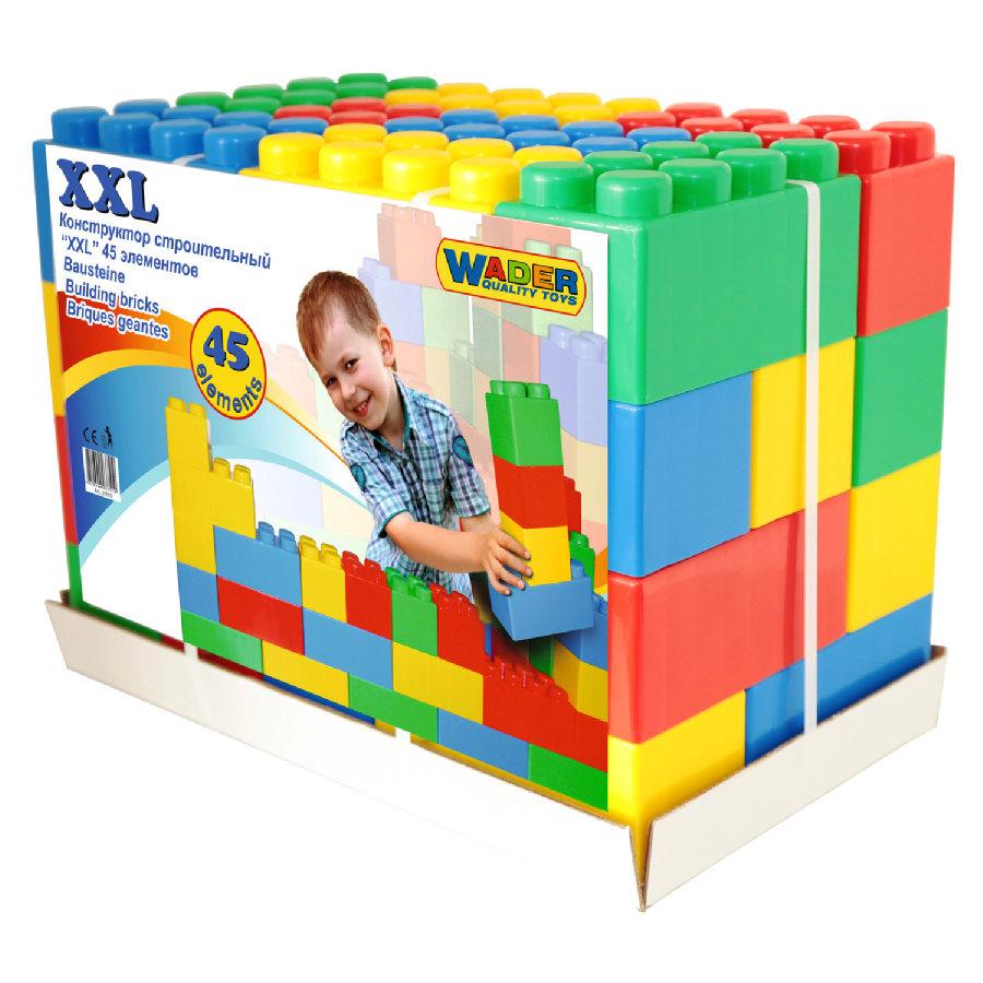Wader Bausteine XXL (45 Stück) - 30 kleine und 15 große Steine zum Bauen ab 12 Monaten