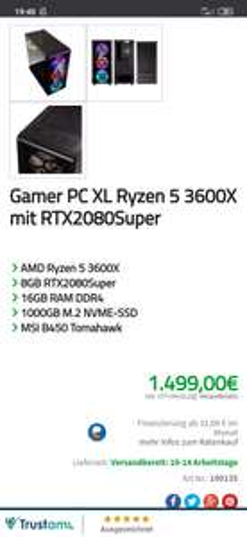 Gaming PC AMD Ryzen 5 3600X + Nvidia GeForce RTX 2080 Super