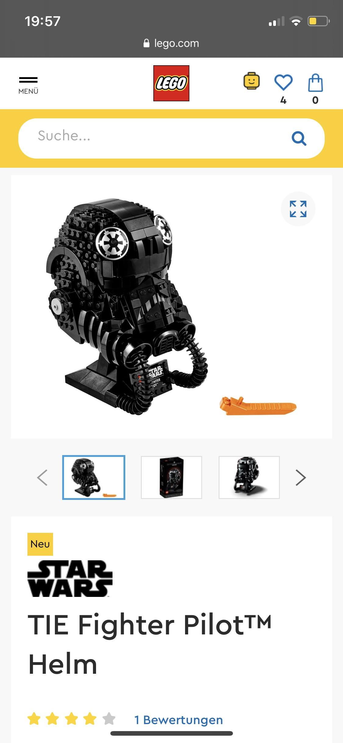 LEGO Star Wars 75274 TIE Fighter Pilot™ Helm