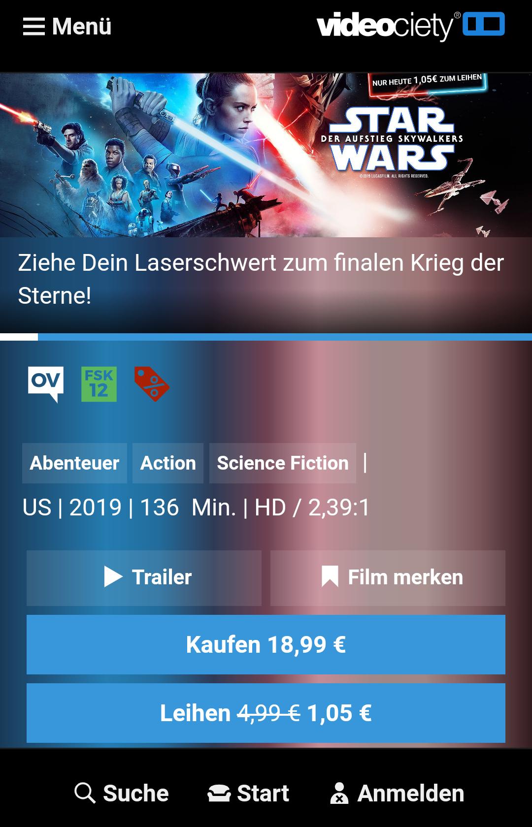 [videociety] Star Wars Der Aufstieg Skywalkers HD Leihfilm für 1,05€