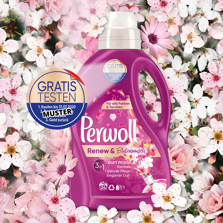 [GzG] Kostenlos testen 100% Cashback auf Perwoll Renew & Blütenrausch 1,44/1,8L Spezialwaschmittel (mit Aktionssticker) - bis zum 31.07.2020