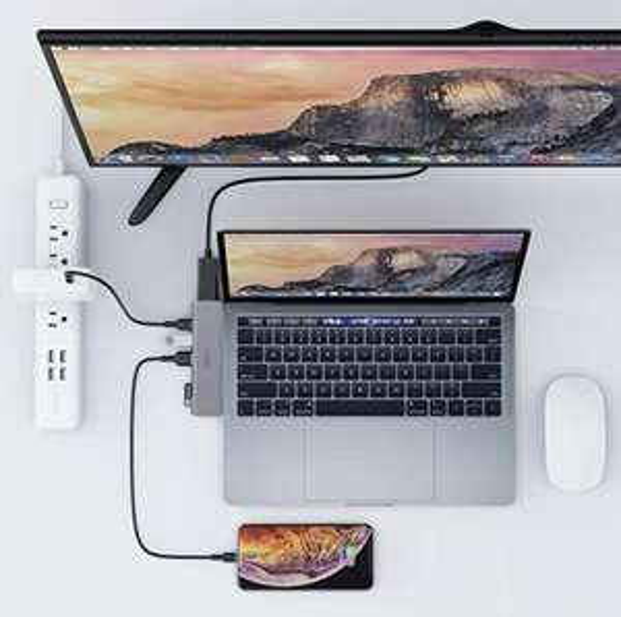 AUKEY USB C Hub Macbook Pro Adapter Thunderbolt 3 Dock mit 4K HDMI, 2 USB 3.0, USB-C Datenanschluss, SD-& MicroSD-Kartenleser