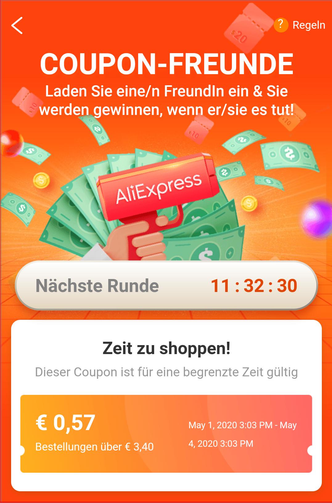 AliExpress App - Coupon Freunde Spiel bis 0,98€ (3,99€) Rabatt für Bestands- (Neu)kunden und Mindestbestellwert 4 Tage gültig