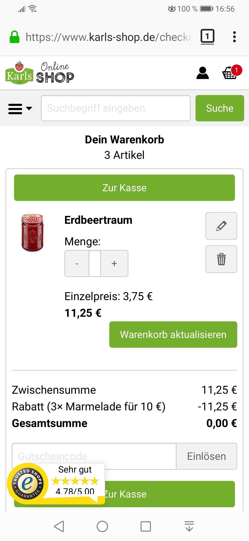 Für Karl's Marmeladenfans - 1,15€ für 3 Gläser Marmelade