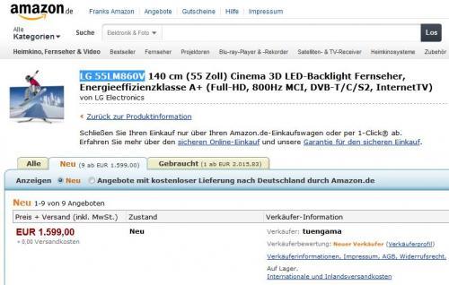 [Amazon] LG 55 LM 860 V