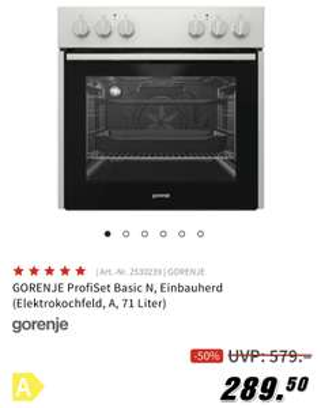 GORENJE ProfiSet Basic N, Einbauherd (Elektrokochfeld, A, 71 Liter)