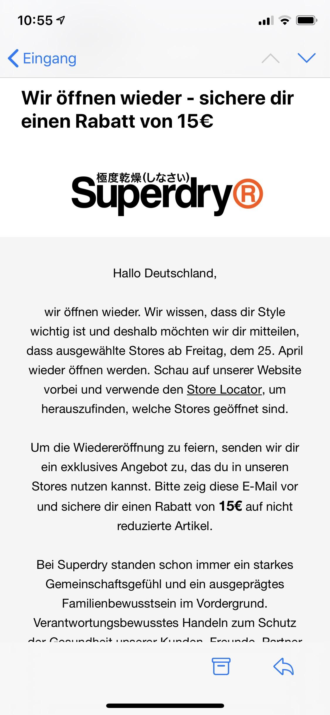 15€ Rabatt bei Superdry auf nicht reduzierte Artikel