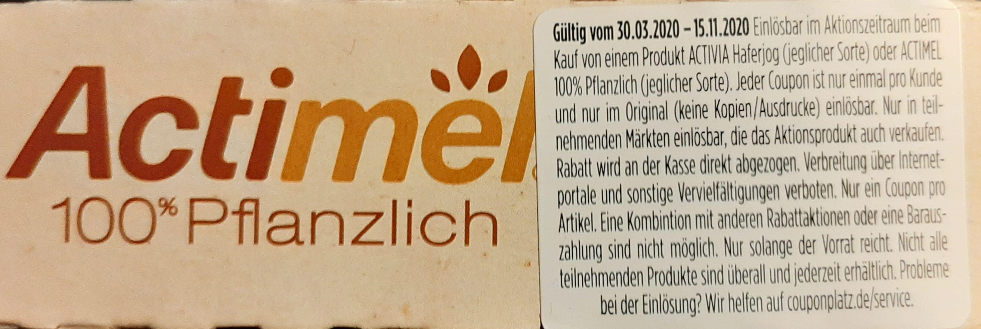 Actimel 100% Pflanzlich & Activia Haferjog 50 Cent Sofort Rabatt auf Aktionspackung