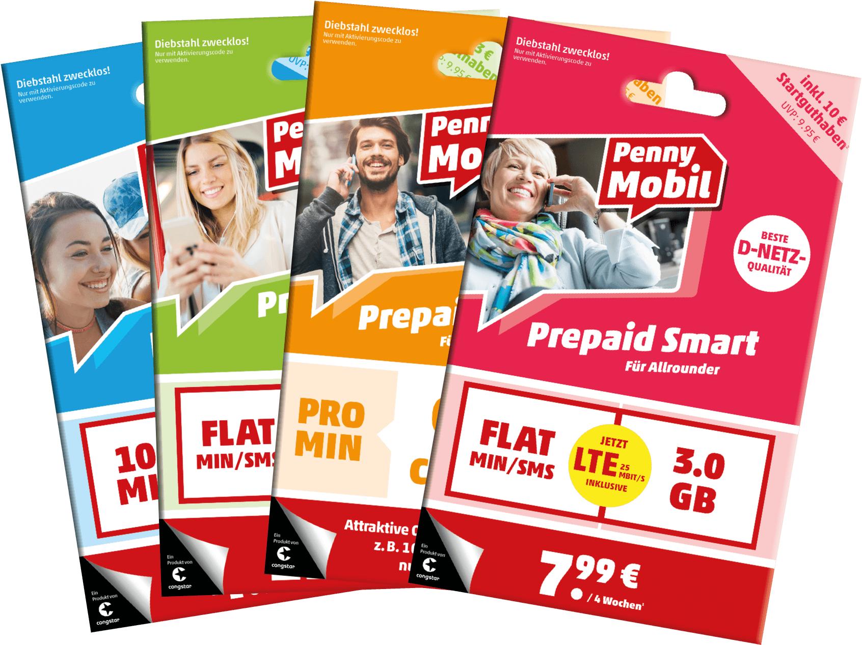 Doppeltes Startguthaben für Penny Mobil Prepaid-SIMs (Telekom-Netz)