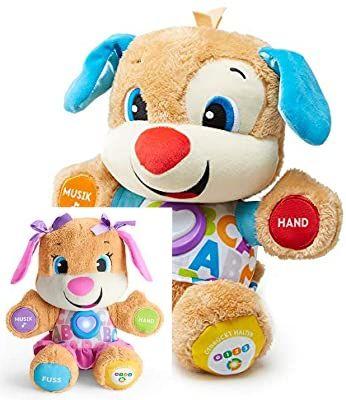 Fisher-Price Lernspaß Hündchen, Baby-Spielzeug mit Musik, Kuscheltier, Lernspielzeug, Rofu