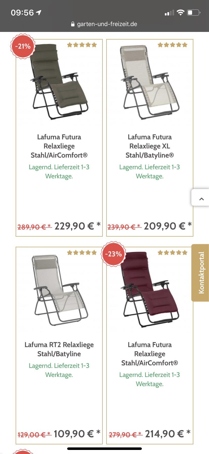 15€ Rabatt beim Kauf von 2 Lafuma-Relaxliegen