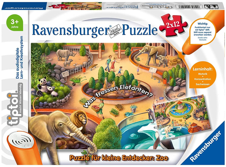 Ravensburger tiptoi Puzzle für kleine Entdecker: Zoo, 2 x 12 Teile für 7,74€ (Amazon Prime & Real Abholung)