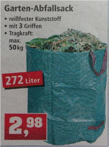 Gartenabfallsack 272 Liter aus reißfestem Kunststoff für 2,98 Euro [Thomas Philipps]