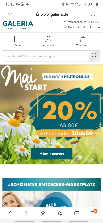 Galeria Kaufhof 20% ab 80€ EKW