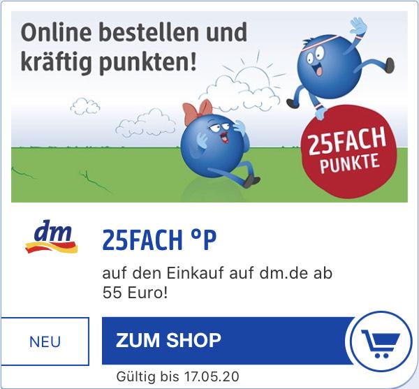 [personalisiert] 25Fach Payback Punkte für den Einkauf bei DM online (Entspricht ca. 12,5% Ersparnis)