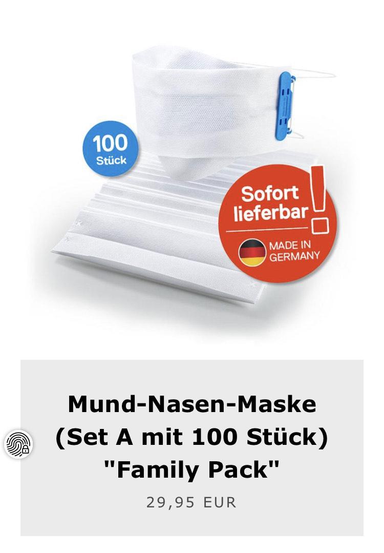 Schutzmasken 100 Stück