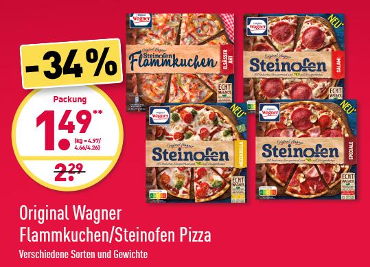 Wagner Steinofenpizza und Flammkuchen für 1,49€