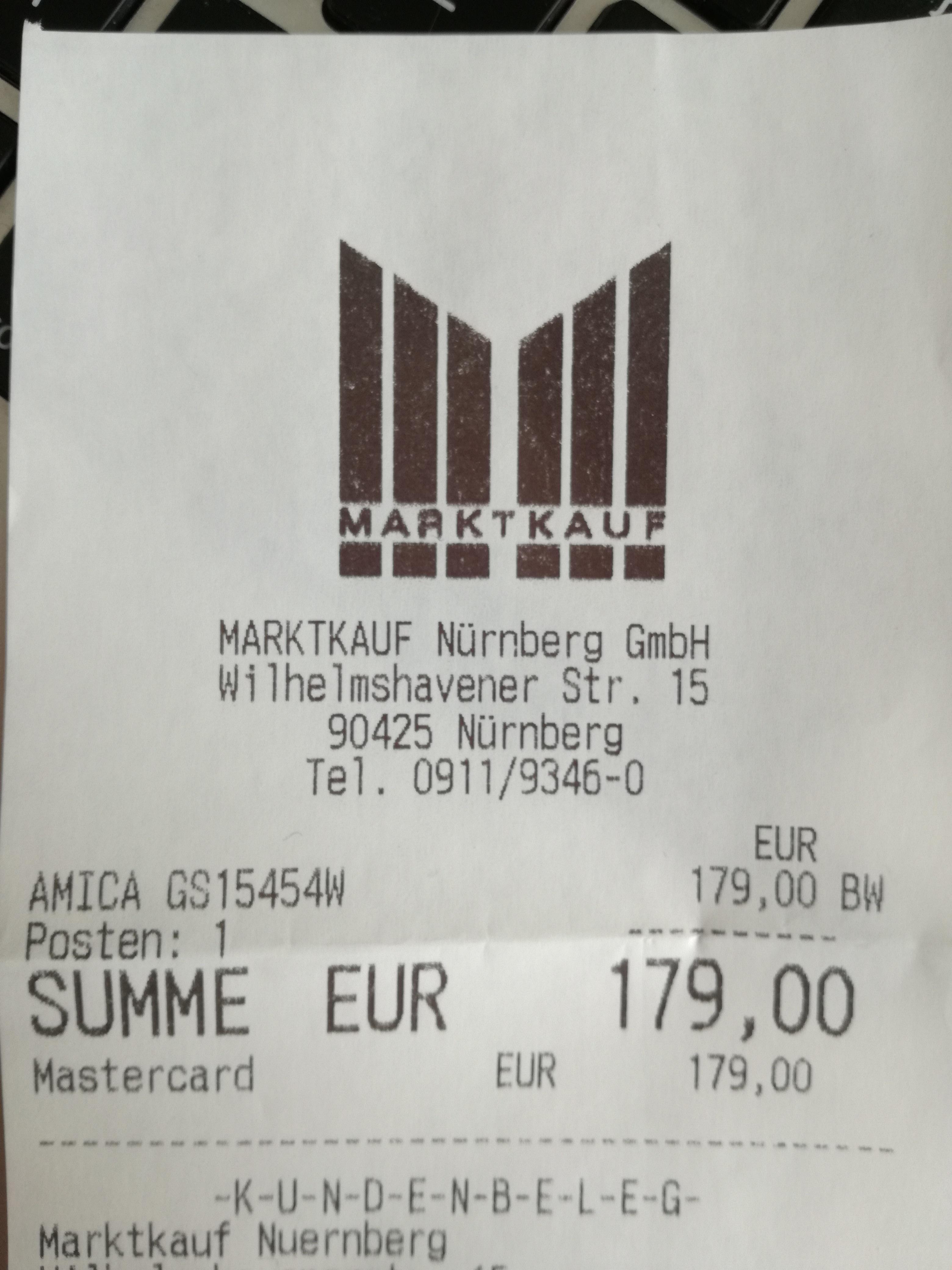 Lokal Nürnberg Marktkauf Thon - AMICA GS 15454 W Gefrierschrank A+++ für 179€