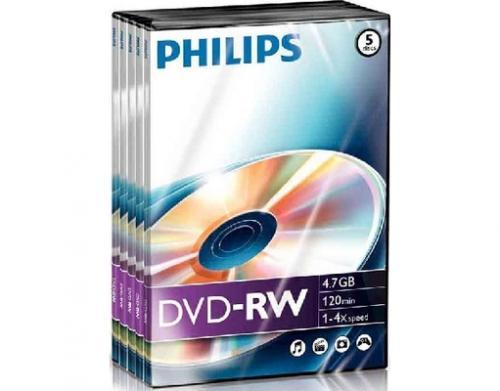 5 x Philips DVD-RW 4.7GB in Videobox für DVD Recorder oder als Sicherungsmedium @meinpaket 3,59€