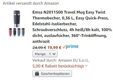Emsa Travel Mug Easy Twist Thermobecher | Amazon Prime