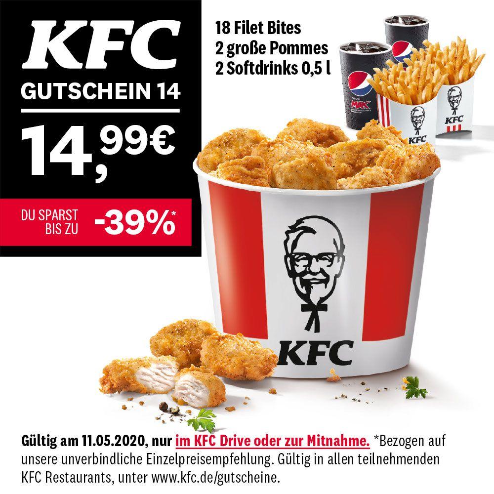 KFC Gutscheine jeden Tag Neu, jeden Tag 2. – heute: Bucket inkl. 2x Softdrink und 2x Pommes