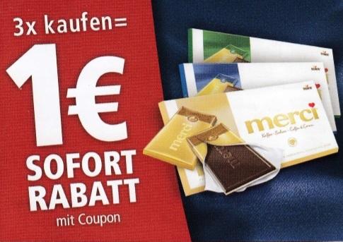 1€ Sofortrabatt beim Kauf von 3 merci Tafelschokoladen - gültig bis 15.08.2020