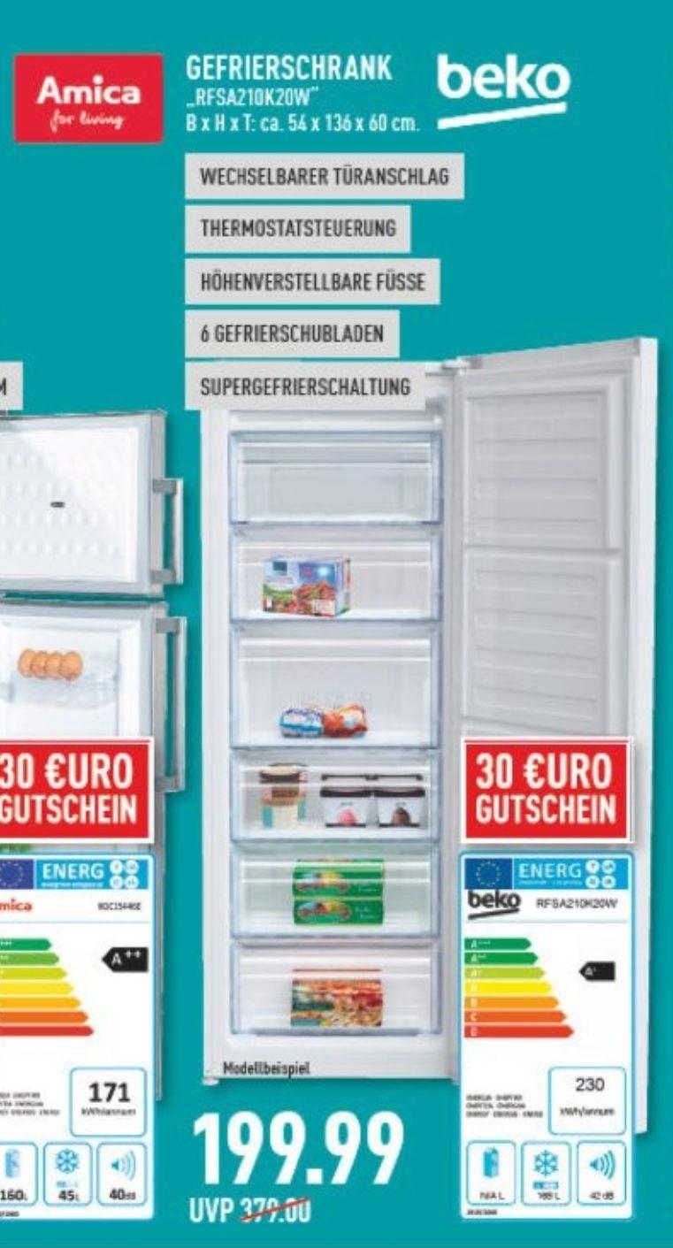 Beko gefrierschrank 199.99€ +30€ Gutschein Marktkauf