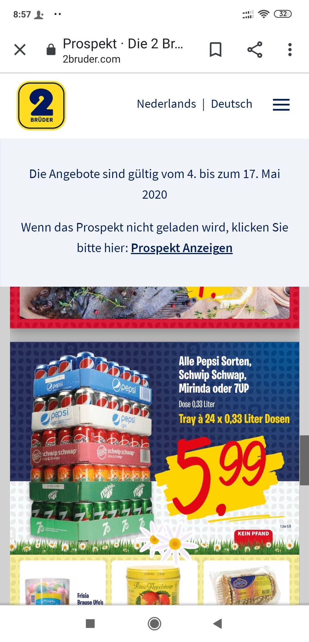 ( Niederlande )PepsiCola Dose 24 x 0.33 für 5.99€ Cent und OHNE PFAND @ 2Brüder in Venlo