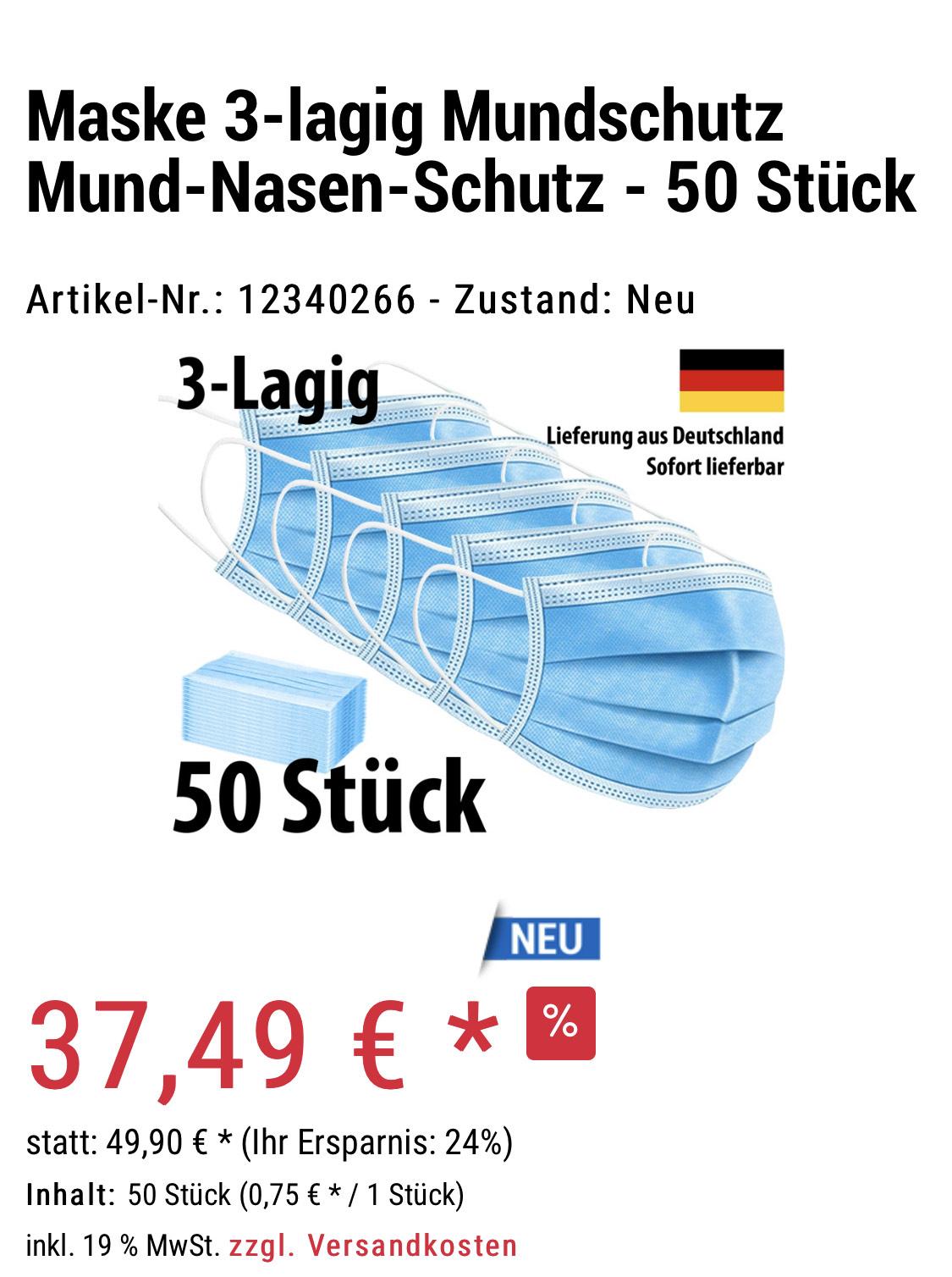 50er Packung Mundschutzmasken günstiger wie bei ALDI für 41,39€ inklusive Versand