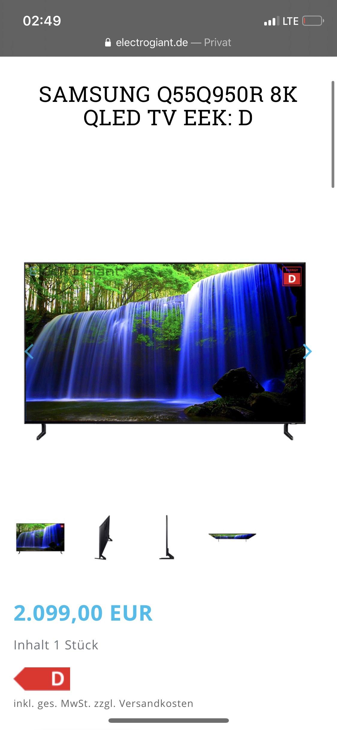 SAMSUNG Q55Q950R 8K QLED TV EEK: D