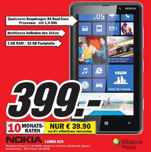 [ LU/MA; Regional begrenzt?] Nokia Lumia 820 bei Media Markt für 399,- ohne Vertrag