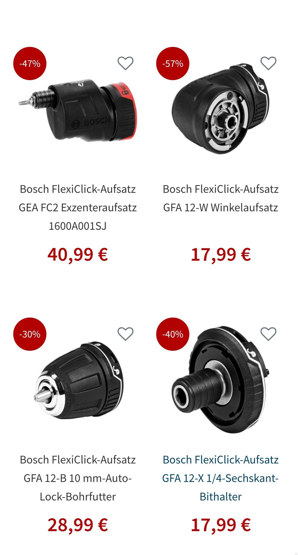 (Gotools)Bosch FlexiClick-Aufsätze GFA 12-X 1/4-Sechskant-Bithalter / Bohrfutter und Winkel ! Preis steht für Winkel!