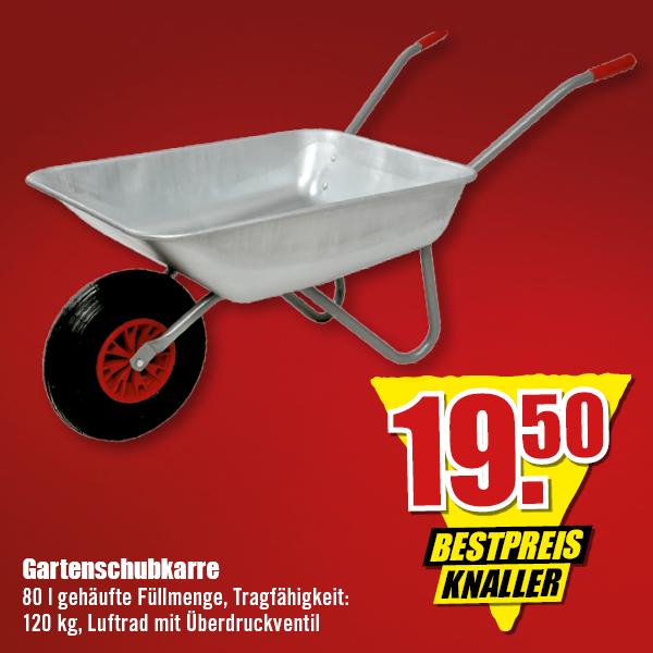 Gartenschubkarre, 80 Liter, 120 kg, für 19,50 Euro [B1 Baumarkt]
