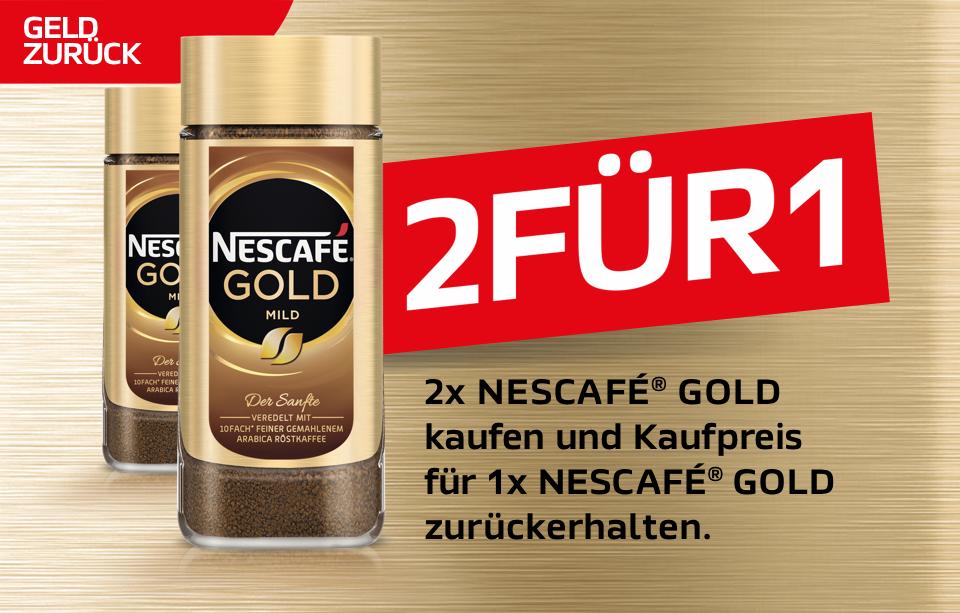 2x Nescafe Gold kaufen und Kaufpreis für 1x Nescafe Gold zurückerhalten