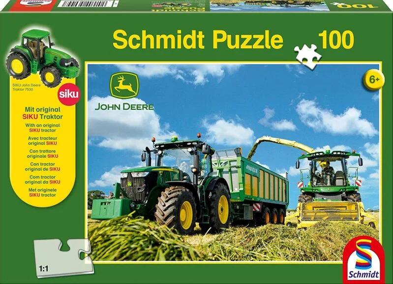 Schmidt Spiele John Deere, 7310R mit 8600i Feldhäcksler 100 Teile Puzzle, mit Siku Traktor für 5,99€ (Amazon Prime & Galeria Kaufhof)