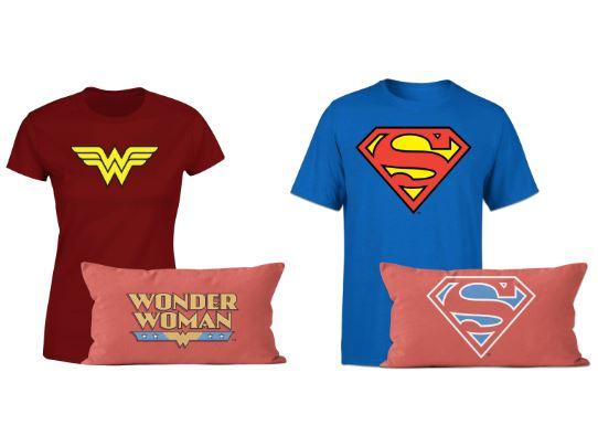 Superman & Wonder Woman T-Shirt und Kissen je Set für 18,99€