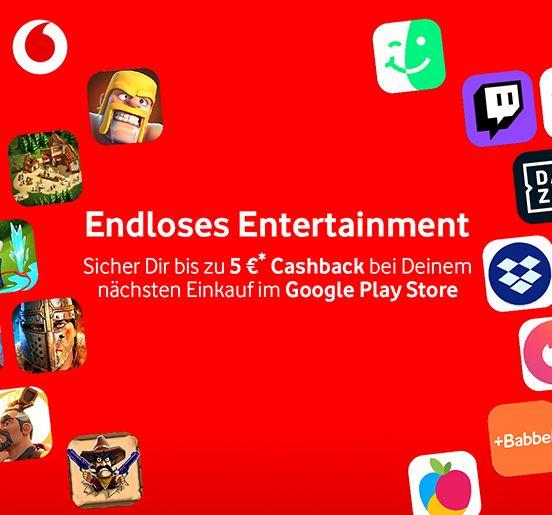 Bis zu 5€ Cashback von Vodafone im Google Play Store (Freebies möglich)