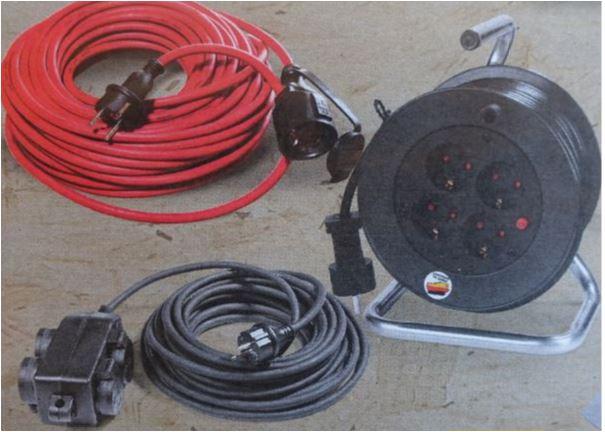 15m Kabeltrommel, 20 m Gummi-Verlängerungskabel IP44 oder 4-fach Steckdosenblock mit 12m Gummi-Kabel IP44 für jeweils 14,99 Euro [Netto MD]