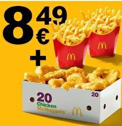 Perfekt zum Teilen - 20er Chicken McNuggets mit 2 mittleren Pommes über die McDonalds App