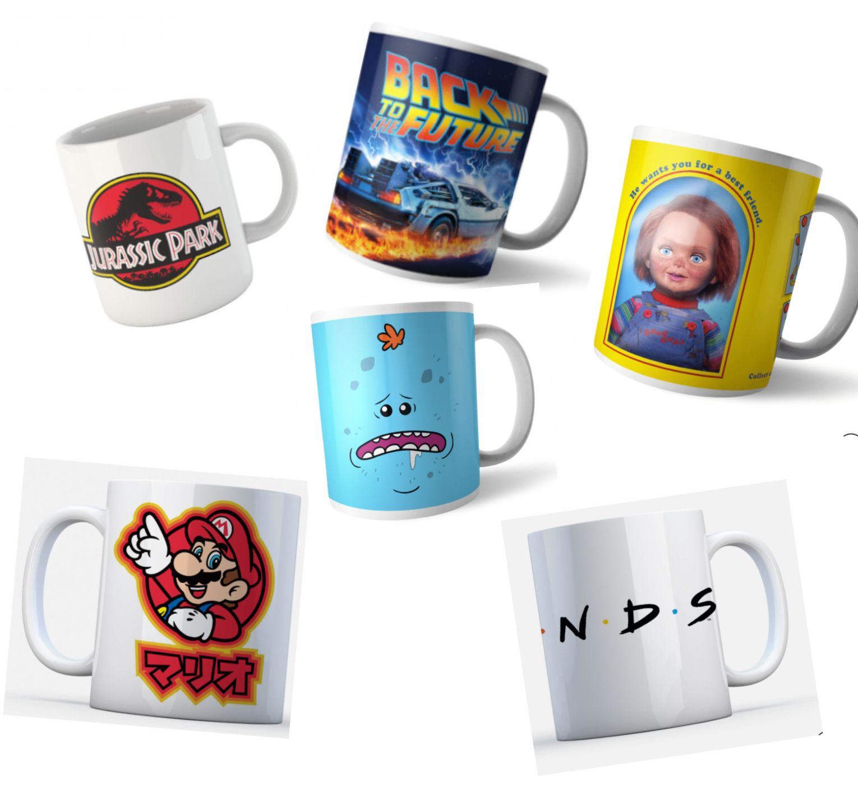 2 Tassen inkl. Versand - 65 Motive z.B. Nintendo, Jurassic Park, Harry Potter, Zurück in die Zukunft, NASA, Friends