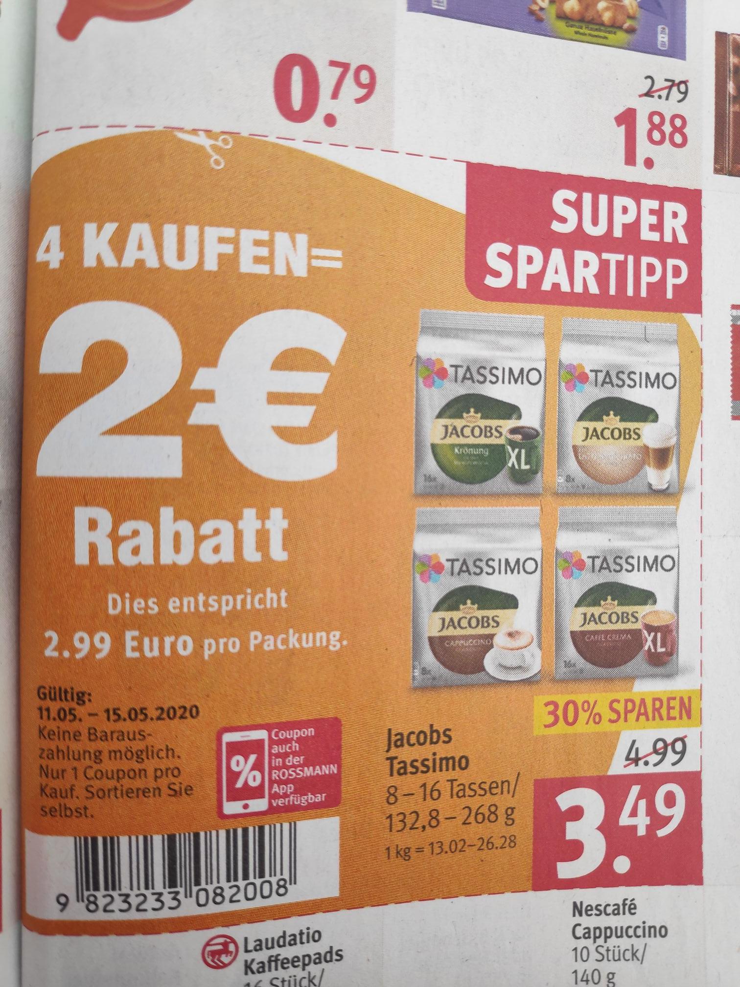 Rossmann [lokal] 4x Tassimo Kapseln kaufen für je 2,691€