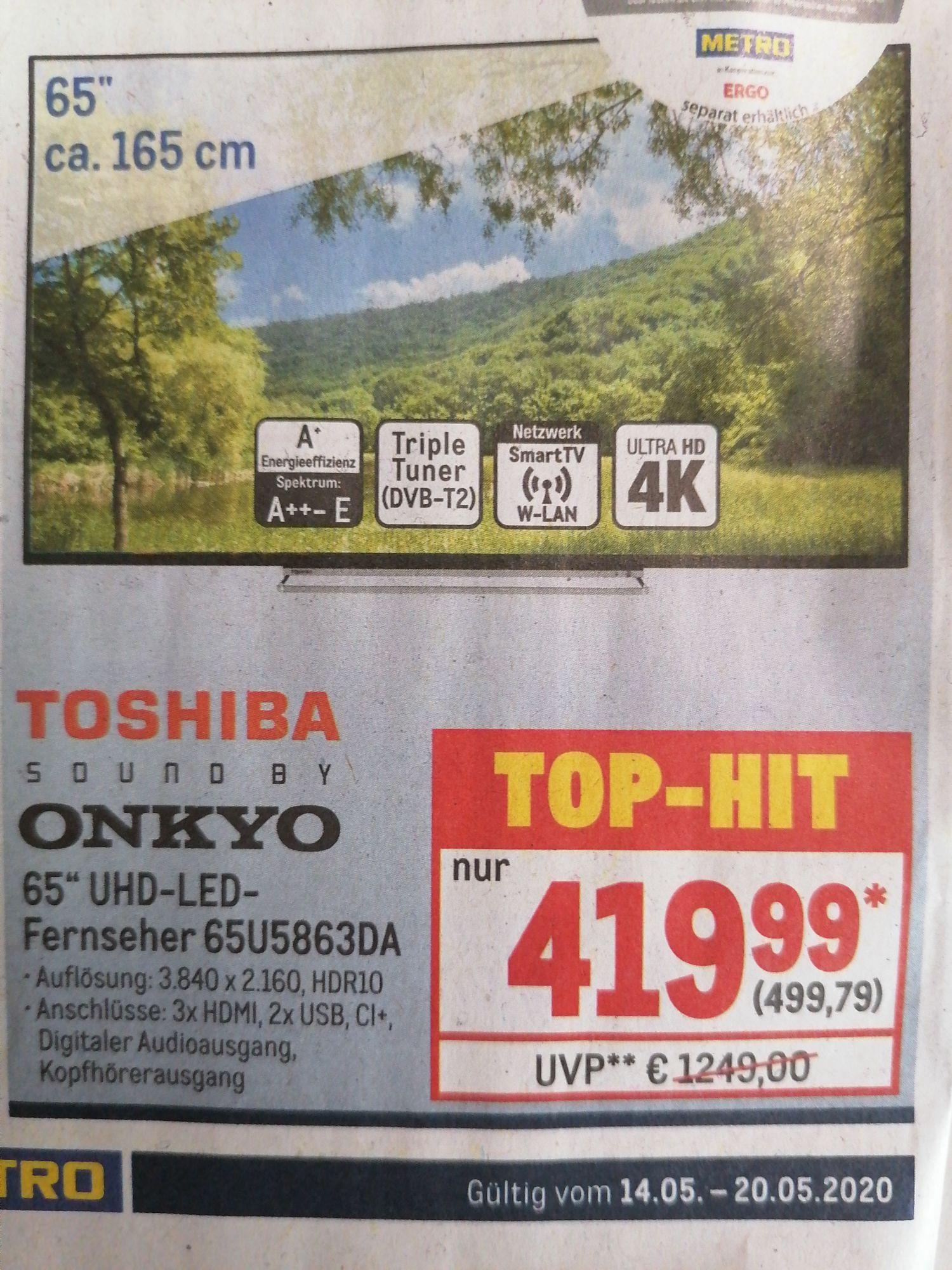 [Metro] Toshiba 65 Zoll 4K UHD - LED - Fernseher 65U5863DA mit Onkyo Sound